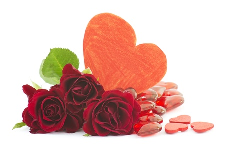 red roses and hearts Stock Photo - 16594447
