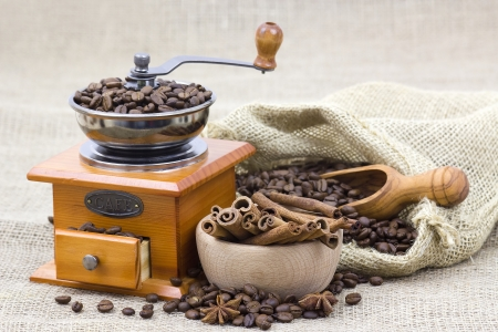 cinnamon sticks, coffee beans and coffee grinder  photo