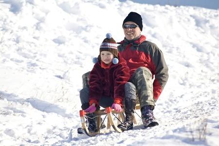 sledging: Slittino - divertimento invernale Archivio Fotografico