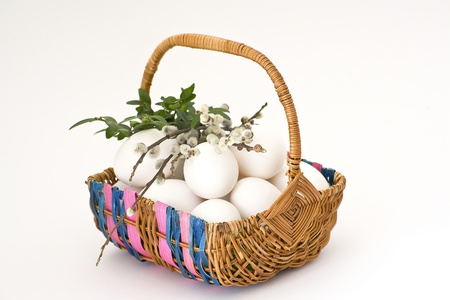 Easter eggs in basket Stock Photo - 16664817