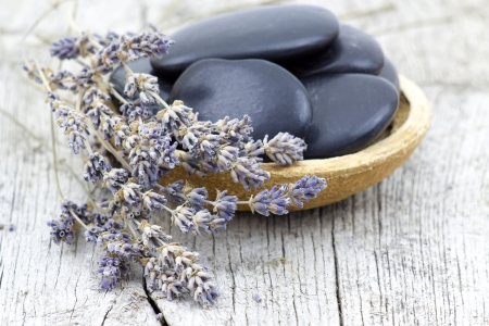 massage stones and dried lavender