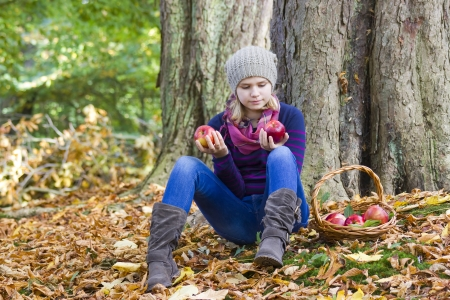young girl with basket of apples in autumn garden Stock Photo - 17065080