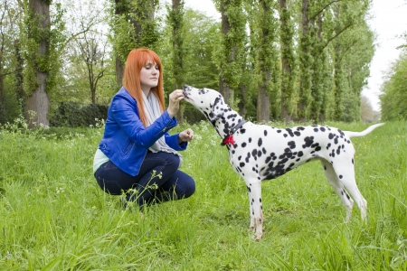 endear: young woman and her dog