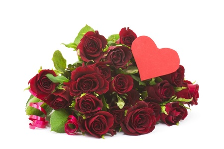 red roses and heart Stock Photo