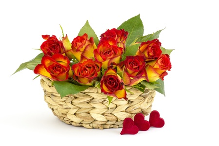 red and yellow roses in a basket Stock Photo - 17333520