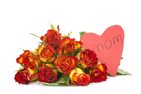red and yellow roses and heart Stock Photo - 17333504