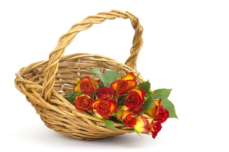 red and yellow roses in a basket Stock Photo - 17333500