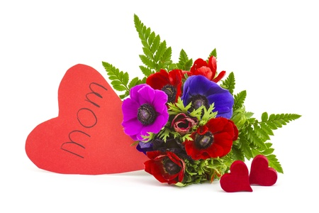 Bouquet Anemones and hearts on white background photo