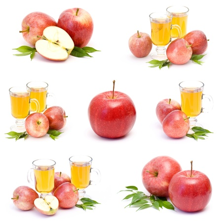 apple juice and fresh fruits - collage photo