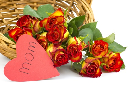 red and yellow roses in a basket Stock Photo - 17406909