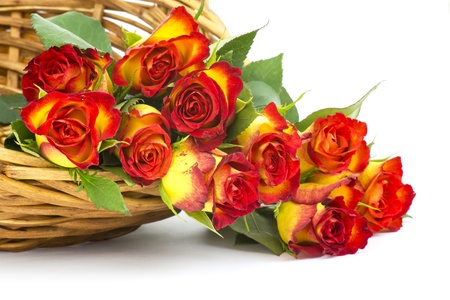 red and yellow roses in a basket Stock Photo - 17406908