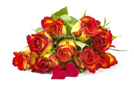 red and yellow roses and hearts Stock Photo - 17406902