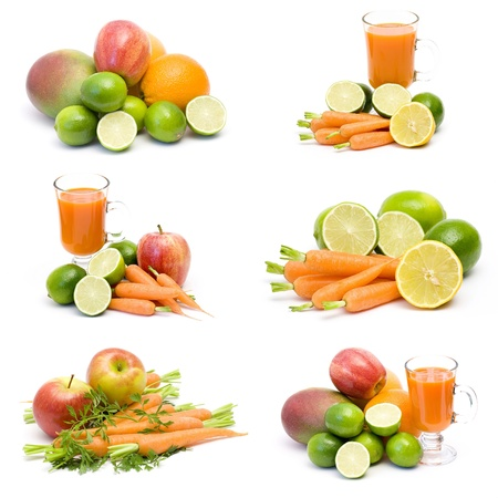 foodstill: fresh juice, fruits and vegetables - collage Stock Photo