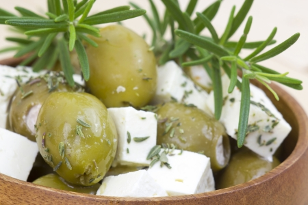 feta cheese and olives with herbs in olive oil Stock Photo - 17817276