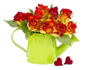 red and yellow roses and hearts Stock Photo - 17960399