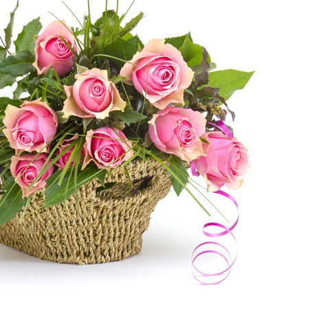 pink roses in a basket photo
