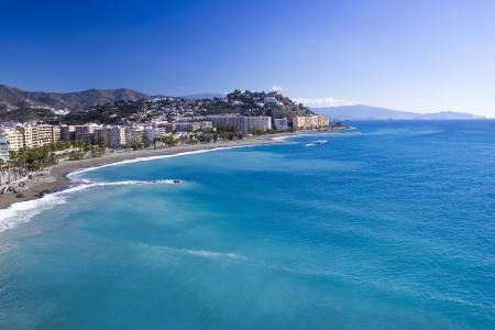 Playa De La Caletilla, Almunecar, Andalusia, Spain Фото со стока