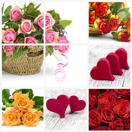colourful roses and hearts - collage Stock Photo - 19128954