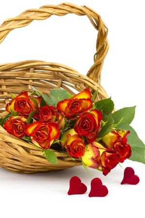 red and yellow roses in a basket Stock Photo - 19363677