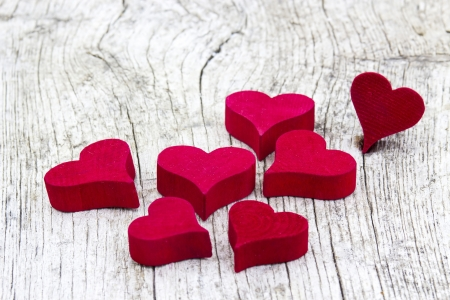 red hearts on wooden background Stock Photo - 19363688