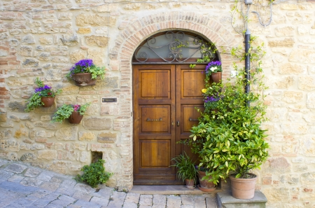 lovely tuscan doors, Volterra, Italy Stock Photo
