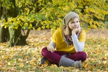 cute little girl in the autumn park photo