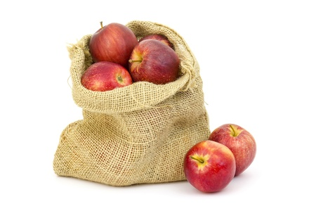Burlap sack with apples on white background photo