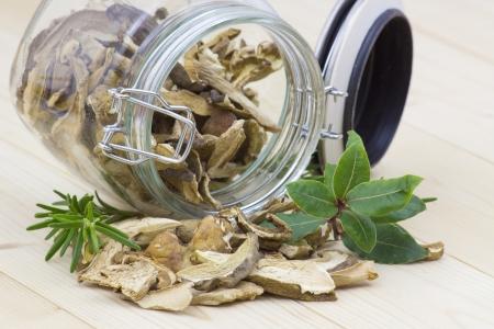 fungous: herbs and dried mushrooms - boletus Stock Photo