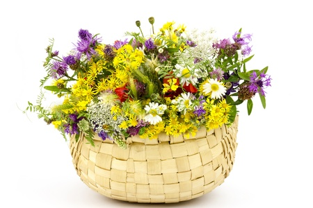 wild flowers in a basket photo