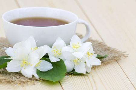 Cup of jasmine tea and jasmine flowers photo