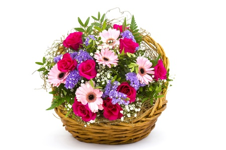 colourful flowers in a basket photo