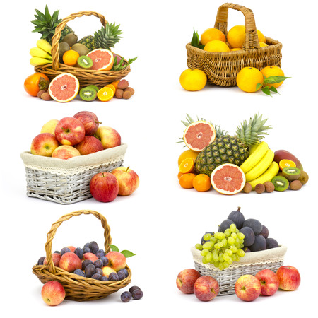 fresh fruits on white background - collage photo