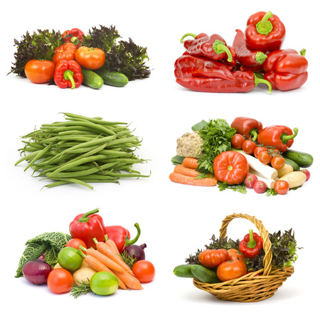 fresh vegetables on white background - collage photo