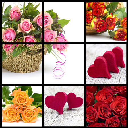 colourful roses and hearts - collage photo