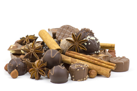chocolate, spices and nuts on white background photo