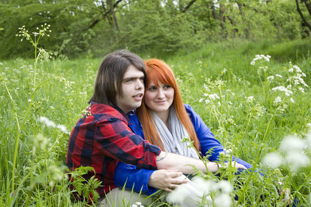 Portrait of love couple outdoor in the park  photo