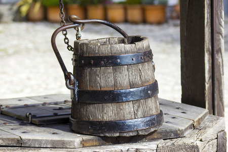 draw well: draw well with wooden bucket, Castle of Bled, Slovenia