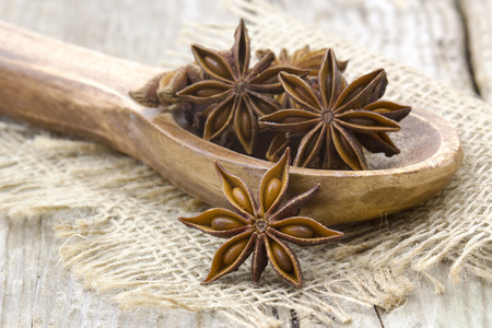 star anise on wooden spoon photo