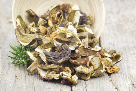 fungous: dried mushrooms in a bowl on wooden background Stock Photo