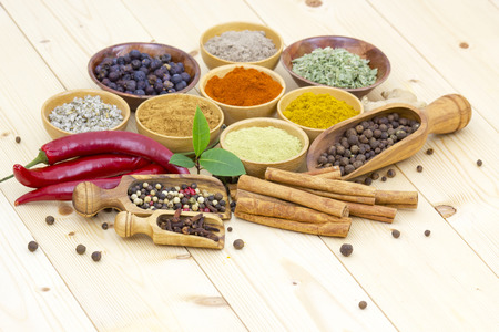 Variety of spices on wooden background photo
