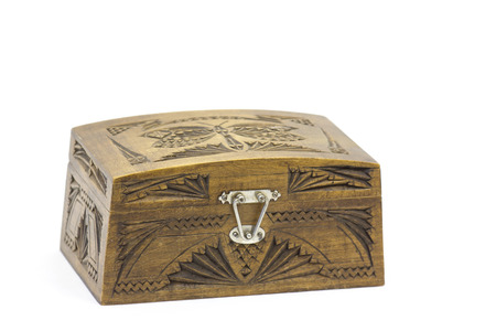 jewellery box: An engraved wooden jewellery box Stock Photo