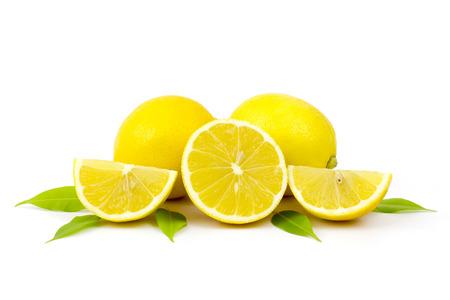 fresh lemons on white background photo