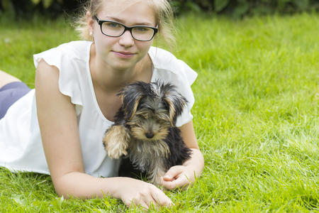 young girl and her dog photo