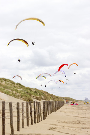 north sea: paragliding at the sea side, Netherlands, North Sea