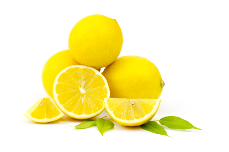 fresh lemons on white background Stock Photo