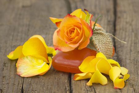 natural soap: bar of natural soap and rose