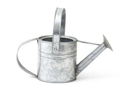 galvanized: watering can on white background