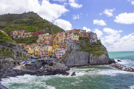 tourist attraction: Village of Manarola, on the Cinque Terre coast of Italy