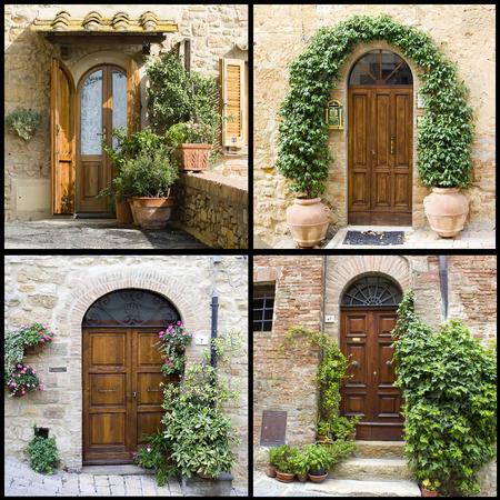 old doors: collage with old italian doors