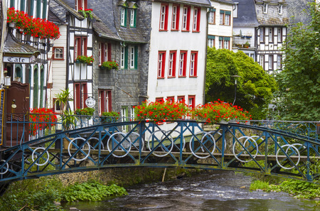 rhine westphalia: MONSCHAU, GERMANY - JULY 30, 2016: small town Monschau. The historic town center has many half-timbered houses and narrow streets remained nearly unchanged for 300 years Editorial
